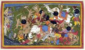 The War of Lanka by Sahibdin.It depicts monkey army of the protagonist Rama (top left, blue figure) fighting the demon-king of the king of Lanka, Ravana in order to save Rama's kidnapped wife Sita. The painting depicts multiple events in the battle agains