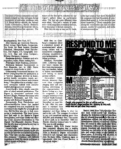 English: An article about Ralph Ginzburg's mail order business