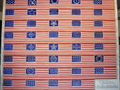 English: Oil painting of the US historical flags of the United States of America