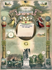 In the 19th century, certificates such as this were commonly issued to Masons to show that they had taken the three degrees of Craft Masonry in a regular lodge