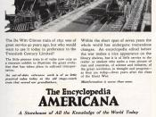 Advertisement for Encyclopedia Americana, 1921. Ad suggests that other encyclopedias are as outdated as the railroad locomotives of 90 years earlier.