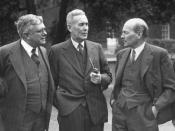 English: Australian Labor Party leaders Ben Chifley (middle) and Herbert Evatt (left) with British Prime Minister Clement Attlee (right) at the Dominion and British Leaders Conference, London, 1946. www.pictureaustralia.org Image number M1409:31