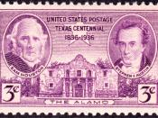 English: The_Alamo_1936_Issue-3c.jpg Postage stamps and postal history of the United States|Battle of the Alamo