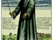 English: Description: Copper engraving of Doctor Schnabel Dr. Beak, a plague doctor in seventeenth-century Rome, with a satirical macaronic poem ('Vos Creditis, als eine Fabel, / quod scribitur vom Doctor Schnabel') in octosyllabic rhyming couplets.