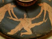 Pentheus torn apart by Agave and Ino. Attic red-figure lekanis (cosmetics bowl) lid, ca. 450-425 BC.