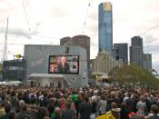 Kevin Rudd on screen in Federation Square, Melbourne, apologising to the Stolen Generations.