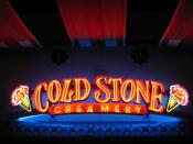 A neon sign for the Cold Stone Creamery at Irvine Spectrum in Irvine, California.
