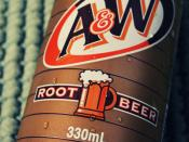 English: A&W Root Beer 12 OZ Can.