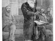 English: A wood engraving of Sir Henry Parkes moving the first resolution at the federation conference in Melbourne.