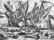 English: Print_entitled_Horribles_cruautes_des_Huguenot_en_France_16th_century.