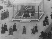 The Yongle Emperor observing court eunuchs playing cuju, an ancient Chinese game similar to soccer.
