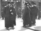 Orthodox Jews from Galicia at the Karmeliterplatz in Vienna's second district Leopoldstadt.