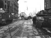 Soviet tanks face U.S. tanks at Checkpoint Charlie
