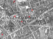 English: 1894 ordnance survey map of Whitechapel annotated with the locations of 6 murders and one clue. Red circles indicate sites where murdered women were discovered. The red triangle indicates the position of the Goulston Street graffito, where a piec