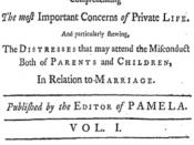 Title page of Samuel Richardson's Clarissa, or, the History of a Young Lady epistolary novel, (1748).