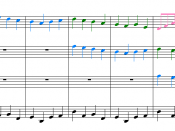 Example 1. The first 9 measures of the Canon in D. The violins play a three-voice canon over the ground bass which provides the harmonic structure. Colors highlight the individual canonic entries.