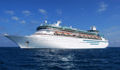 English: MS Majesty of the Seas, one of Royal Caribbean International's Sovereign class cruise ships, anchored off Coco Cay, Royal Caribbean's name for Little Stirrup Cay, an island located in the Bahamas.