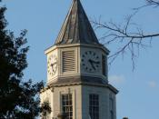 English: Top of the Pulliam Hall clock tower