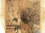 El sueño (dibujo preparatorio, 1797). Dibujo preparatorio para «El sueño de la razón produce monstruos». Tinta de bugallas a pluma, 23 X 155 mm.