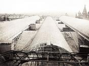 The Structure of the Roof of Upper Trading Rows (Moscow GUM) under construction, view from above - 1892. The is design of a unique roof from glass and metal constructed under the project of the great engineer and architect Vladimir Grigorevich Shukhov.