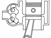 English: Line art drawing of a diesel engine.