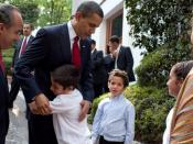 President Barack Obama bids farewell to the family of Mexican President Felipe Calderon following their meeting in Mexico City, Thursday, April 16, 2009.