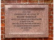 English: Plaque at the Rugby School in memory of William Webb Ellis who is said to have invented the rugby sport.