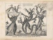 A cartoon depicts Jackson battling the many headed monster of the bank.