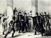 English: The etching of the 1835 assassination attempt of Andrew Jackson. Public domain. from here Category:Andrew Jackson