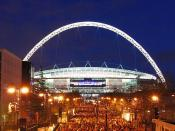 Wembley is the national stadium and home of the England football team. The new stadium has a arch which is illuminated at night. You are free to use this imagine providing you credit Landscapes of England and provide a link back to our website - www.lands