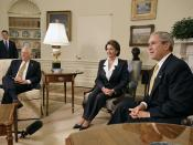 Speaker-designate Pelosi and House Minority Whip Steny Hoyer meeting with President George W. Bush on November 9, 2006