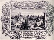 English: Scan of a pen drawing of Stanislas College Tienen dating from about 1850.