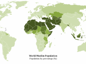 English: Map of the Muslim Population by Percentage in the World