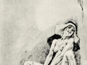 Saint Teresa's ecstasy illustrated as masturbation by Félicien Rops (1833-1898).