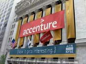 Accenture's banner hanging on New York Stock Exchange (NYSE) building for its initial public offering on 19 July 2001. Accenture's banner hanging on New York Stock Exchange (NYSE) building for its initial public offering on 19 July 2001.