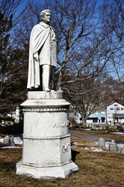English: Statue of Massachusetts Governor John Albion Andrew, Hingham, Massachusetts. Buried in the Old Ship Church Cemetery, Hingham. Statue by sculptor Thomas R. Gould constructed in 1875. See Appleton's cyclopedia for further information.