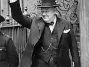Winston Churchill in Downing Street giving his famous 'V' sign.