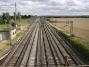 View from a footpath near Ledburn, Buckinghamshire over the West Coast Main Line, towards 'Sears Crossing' where robbers took control of a mail train during the Great Train Robbery of 8 August 1963.