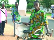 Beninese presidential election, 2006: Civil Society members offer their own transportation means to carry and safeguard the transparent ballot boxes from the polling stations to the electoral commission offices.