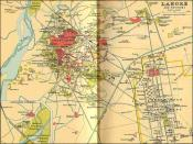 English: 1893 Map of Lahore