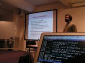 Robert Watson speaking and me on IRC