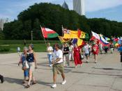English: Returned Peace Corps Volunteers march in