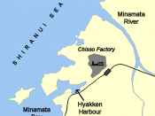 Map of Minamata, illustrating the Chisso factory and its effluent routes.