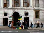 English: Anti-apartheid protest in London, UK, at South Africa House