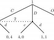 An extensive form representation of a prisoner's dilemma with an outside option for player 1