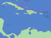 This is the route of first voyage of Columbus in the Caribbean. This map shows the Spanish-given names by which Columbus would have known these places. Česky: Mapa první výpravy Kryštofa Kolumba. Popisky jednotlivých lokalit jsou ve španělštině, jak je zn