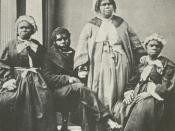 Picture of the last four full-blood Tasmanian Aborigines c.1860s. Truganini, the last to survive, is seated at far right.