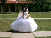 American bride wearing a Contemporary Western Wedding Dress