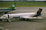 English: Ryanair (EI-CCW) BAC 1-11 509EW aircraft, Dublin Airport, Dublin, Republic of Ireland, July 1993