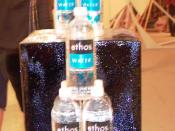 A display of Starbucks Ethos water.